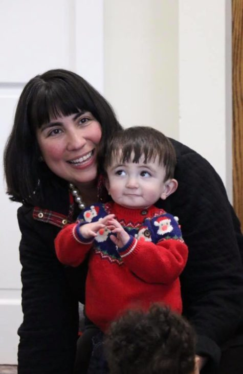 cute child with mom at the library