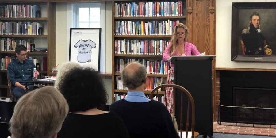 A speaker at an event at Sturgis Library