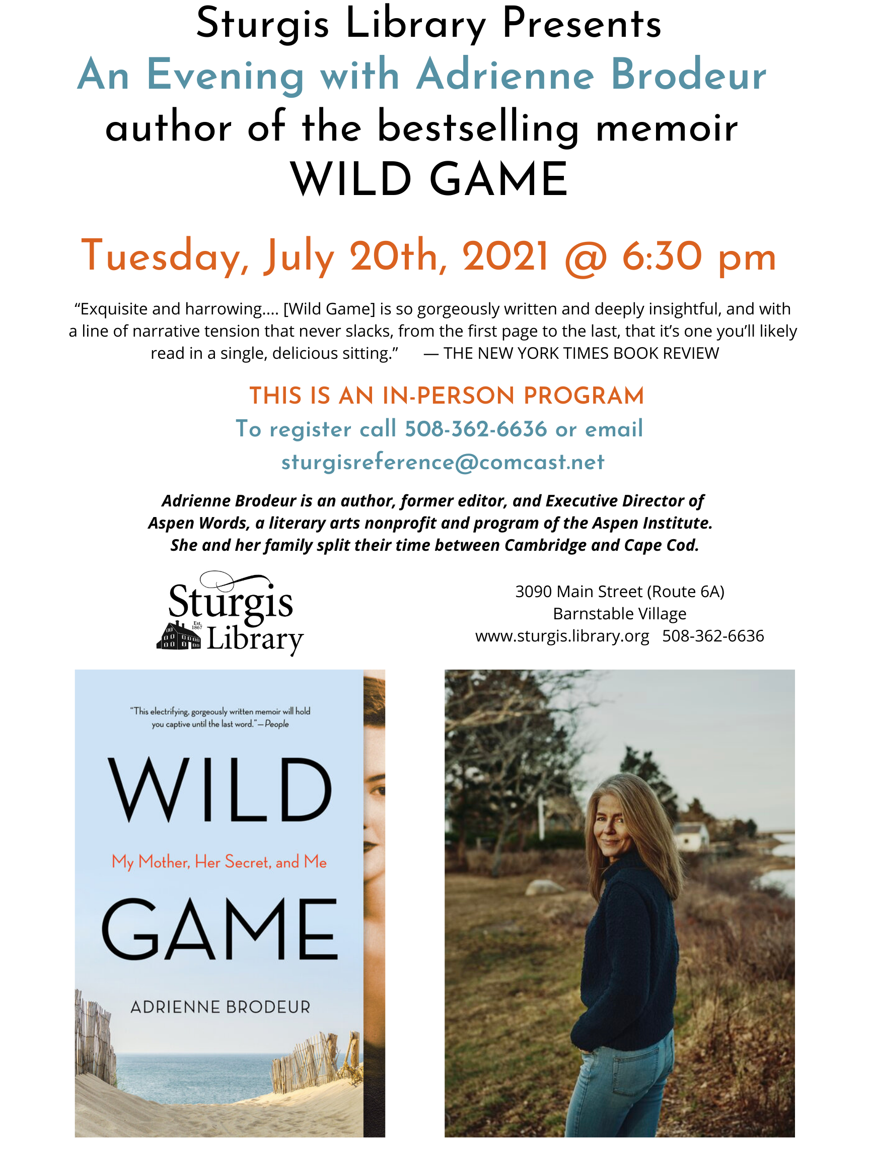 An Evening with Adrienne Brodeur, author of Wild Game NOW IN-PERSON