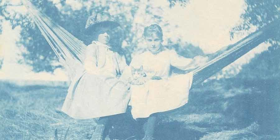 Two children in a hammock