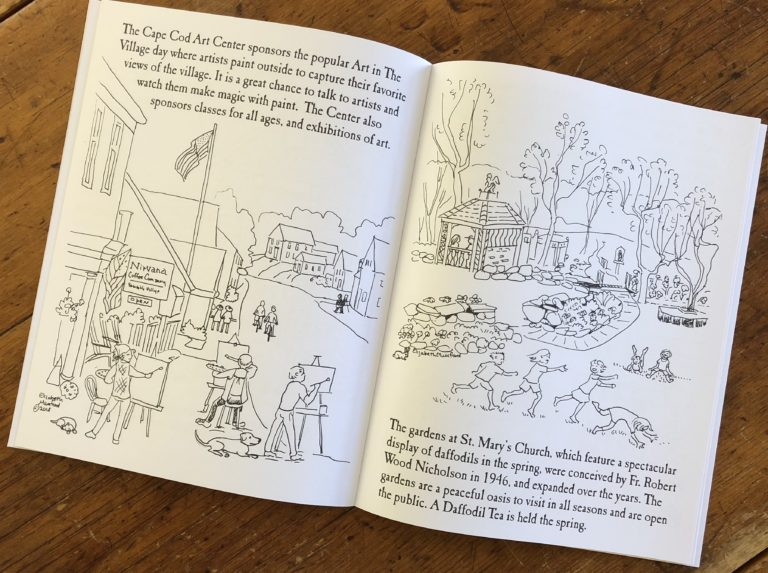 The Cape Cod Arts Cetner and the gardens at St MArys Church are depicted in this coloring book